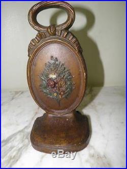 Antique Bradley & Hubbard Cast Iron Hand Painted Flower Basket Door Stop B & H