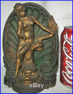 Antique Bradley Hubbard Sea Lady Cast Iron Mermaid Art Statue Bookend Doorstop