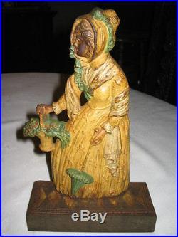 Antique Bradley Hubbard Victorian Garden Statue Lady Art Cast Iron Doorstop Toy