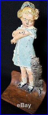 Antique CJO Cast Iron Judd 1271 Naughty Puss Cat Scratch Doorstop Girl Hubley
