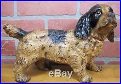 Antique COCKER SPANIEL Cast Iron Figural Dog Doorstop Decorative Art Statue
