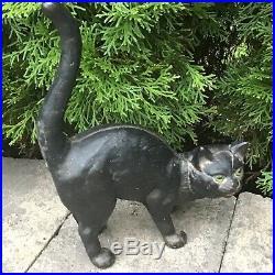 Antique Cast Iron Black Cat Door Stop Arched Back Green Eyes Hubley