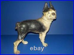Antique Cast Iron Bulldog Boston Terrier Doorstop Hubley