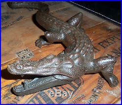 Antique Cast Iron Crocodile Alligator Doorstop Paper Weight