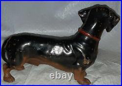 Antique Cast Iron Dachshund Doorstop HUBLEY Weenie Dog Marked USA Painted
