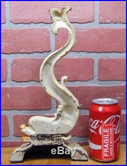 Antique Cast Iron Dauphin Koi Fish Doorstop Decortive Art Statue Door Stopper