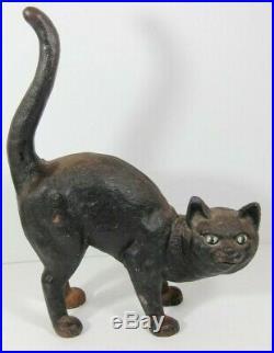 Antique Cast Iron Door Stop Black Cat Arched Back Doorstop Halloween Hubley