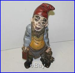 Antique Cast Iron Door Stop Gnome Holding Lantern & Keys