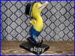 Antique Cast Iron Doorstop, Duck With Top Hat Larger Size Version! Exc Paint