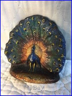 Antique Cast Iron Doorstop Peacock in Full Plumage with Best Original Paint