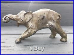 Antique Cast Iron Elephant Doorstop Hubley Very Rare Size & Shape One Piece