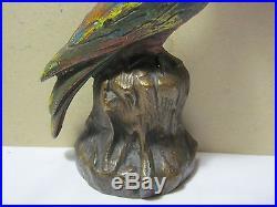 Antique Cast Iron Exotic Bird on Stump Door Stop Art Supply Co. Milwaukee Wi T