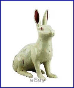 Antique Cast Iron Extra Large 12 Tall Doorstop White Rabbit