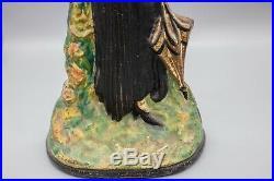 Antique Cast Iron Flapper Lady Doorstop, Toledo Stove & Range Co, Original Paint