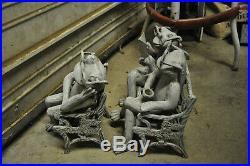 Antique Cast Iron Frogs On A Bench & Chair Doorstop/Garden Art VERY RARE