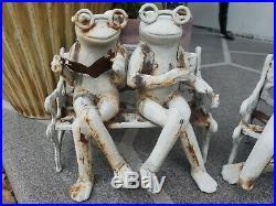 Antique Cast Iron Frogs On A Bench Doorstop/Garden Art VERY RARE