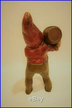 Antique Cast Iron Gnome With Whiskey Barrel Door Stop