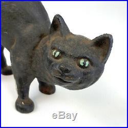 Antique Cast Iron HUBLEY Arched Back BLACK CAT Doorstop Original Green Eye Paint
