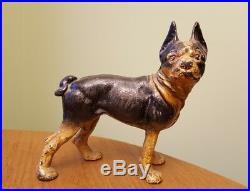 Antique Cast Iron HUBLEY Boston Terrier Door Stop Nice Paint SM2