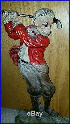 Antique Cast Iron Hubley Doorstop Golfer man