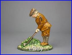 Antique Cast Iron Hubley Doorstop, Putting Golfer, Original Paint, VGC