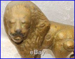 Antique Cast Iron Hubley Gold Lion Doorstop-HEAVY