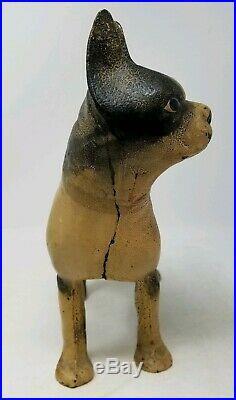 Antique Cast Iron Hubley Left Facing Boston Terrier Door Stop 10 tall