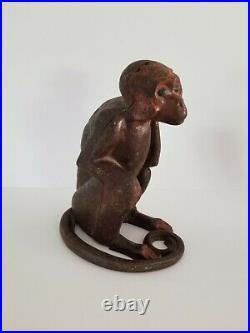 Antique Cast Iron Hubley Monkey Bank Door Stop Figure Figurine Statue Vintage