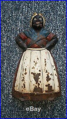 Antique Cast Iron Mamma Doorstop USA Black Americana 1920 Rare Aunt Jemima Mammy