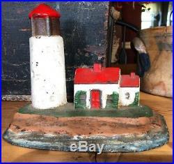 Antique Cast Iron Nautical Lighthouse Doorstop
