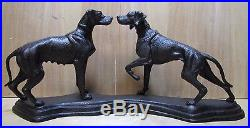 Antique Cast Iron Pointer Hound Dogs Doorstop Decorative Art Statue Male Female