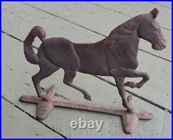 Antique Cast Iron Prancing Stallion Door Stop. Primitive Door Stop Orig Patina