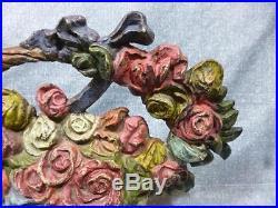 Antique Cast Iron Rose Basket Doorstop by A. M. Greenblatt #28