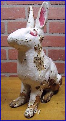 Cast Iron Sitting Bunny Rabbit Garden Statue Patio Yard Large Doorstop Upper Deck x8101