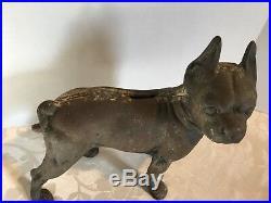 Antique Cast Iron brown 10 1/4 BANK HUBLEY Bulldog Boston Terrier DOG Door Stop