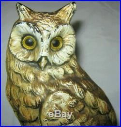 Antique Cjo Judd # 1287 Cast Iron Owl Tree Stump Art Statue Sculpture Doorstop