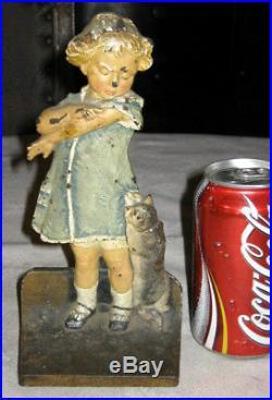 Antique Cjo Judd Cast Iron Girl Cat Dress Statue Sculpture Doll Hubley Doorstop