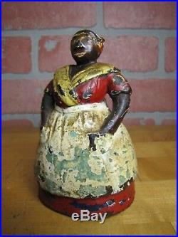 Antique Cook wearing Apron Cast Iron Doorstop Figural Woman Door Stopper Art