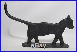 Antique Early 1900's Black Cat Cast Iron Mountable Door Stop Boot Scraper yqz