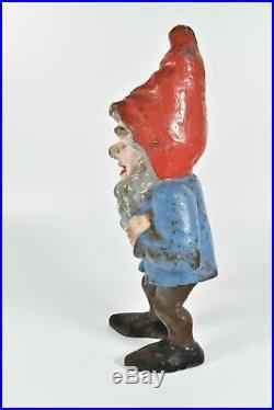 Antique Early Figural Hubley Cast Iron Gnome Elf Vintage Doorstop Garden Statue