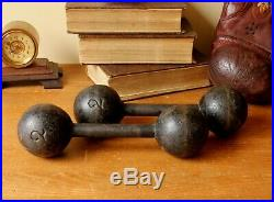 Antique French Number 2 Kg Cast Iron Dumbbell Weights. C1880. Unusual Doorstops
