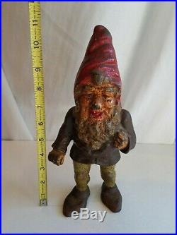 Antique GNOME Cast Iron Door stop Garden Original Dick Bros PA 11 old heavy