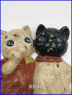 Antique Grace Drayton Cast Iron Hubley Twin Kittens Cat Kitty Doorstop #73 VTG