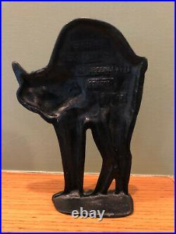 Antique Greenblatt Studios 1927 Cast Iron Scary Black Cat Doorstop
