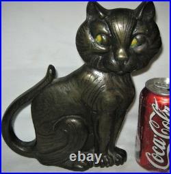 Antique Greenblatt Studios Boston USA Cast Iron Black Cat Art Statue Doorstop