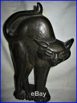 Antique Greenblatt Studios USA Cast Iron Scary Black Cat Kitten Art Doorstop