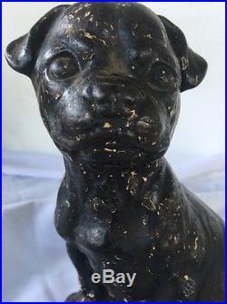 Antique Gutter Pup #346 Hubley USA Cast Iron Dog Doorstop Statue 8.5 Marked