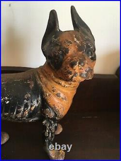 Antique HUBLEY Boston Terrier Bulldog Doorstop Cast Iron Original Paint genuine
