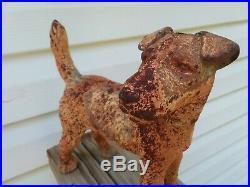 Antique HUBLEY Cast Iron FOX TERRIER DOG Doorstop Door Stop