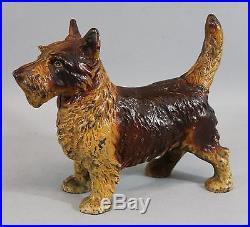 Antique HUBLEY Cast Iron Scottish Terrier Dog Doorstop, Rare Original Paint, NR
